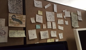 Cubical wall shot with notes